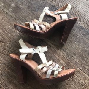 Born Metallic Leather Sandal Heels Size 8